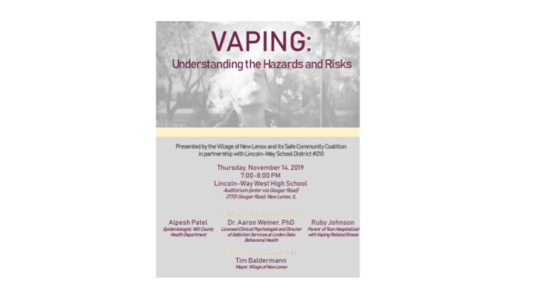 """""""VAPING: Understanding the  Hazards and Risks""""  7 PM Nov 14th at LWW High School"""