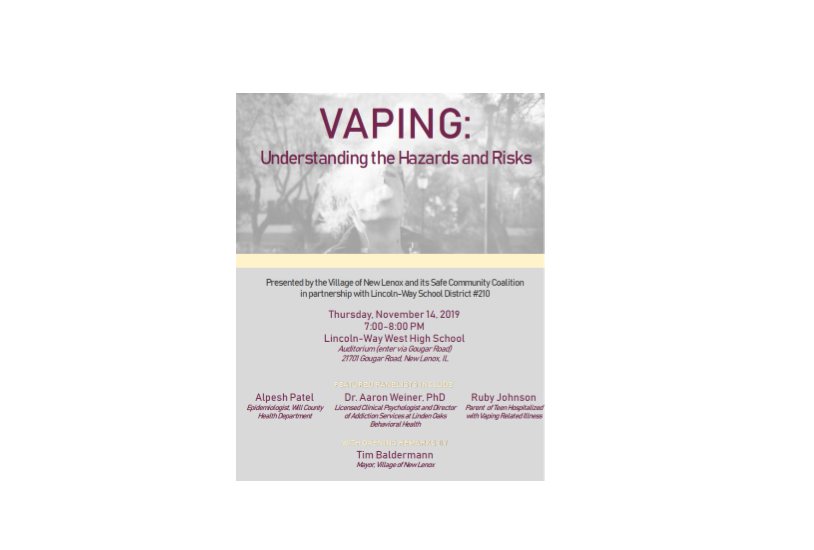 """VAPING: Understanding the  Hazards and Risks""  7 PM Nov 14th at LWW High School"