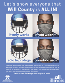 Posters-All-In Will County- football helmet