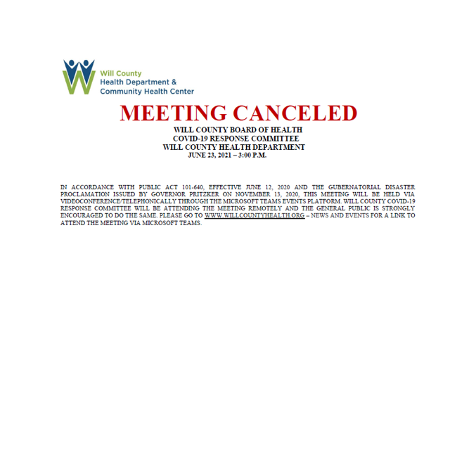 Will County Board of Health COVID-19 Response Committee Meeting Scheduled for June 23rd Cancelled